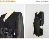 CLOTHING SALE Vintage Dress 70s 80s Norman Berg for Denise Fashions Sheer Black Cocktail Dress Art Deco Beaded Waistline Size