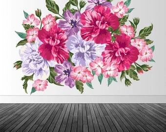 Pink Vintage Floral, Vinyl Wall Decal, Vintage Flower Decal, Vintage Flowers, Vinyl Wall Graphics, Infinite Graphics, Home Decor, Floral Art