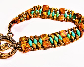 Handmade Beaded Bracelet in Browns and Turquoise  picasso tile beads, turquoise beads, beaded bracelet, etsy handmade, goldtone, giftsforher