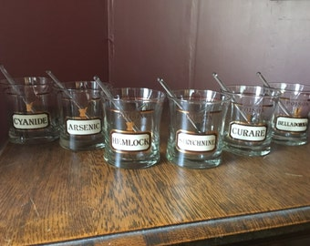 RARE- Set of 6 Name Your Poison Vintage Tumbler Drinking Glasses With 6 Glass Swizzle Sticks
