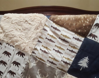 Hunting and Fishing Patchwork Blanket- Trout Fish, Buck, Bears,Navy Trees, Deer Skin Minky, and Ivory Crushed Minky Baby Blanket