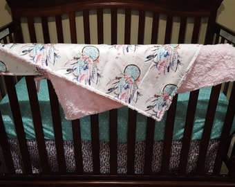 Baby Girl Crib Bedding - Dream Catcher, Feathers, Weathervanes, and Light Pink Crushed Minky Crib Bedding Ensemble