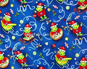 "2316  - 1 yard Hot silver Cotton  fabric - Frogs, stars, candy, heart (135cmx91.44cm,53""x36"")"