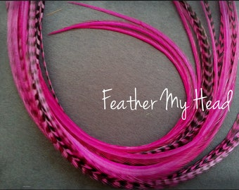 Feather Hair Extension - 5 Piece 7 - 9 inches Long (18-23 cm) Grizzly Stripe / Solid Mix - Magenta - Brights