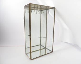 Vintage Glass Brass Rectangle Necklace Display Box - Glass Mirror Brass Display Box