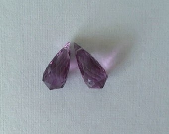 Amethyst Faceted Briolette Pair