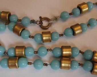 "1970's AQUA and GOLD bead NECKLACE 41"" (C2)"