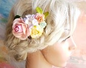 Haircomb with pastel  flowers  Floral  Vintage Wedding Bridal Bridesmaid Accessory