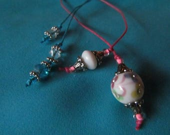 Two Victorian Style Beaded Bookmarks Bright Pink, White, Silver, Turquoise, Crystal 8579