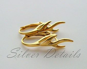 Unique Gold Vermeil over Sterling Silver Lever backs Vine with Pinch Bail for Swarovski Crystals Earring finding reference code L72Y