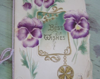Victorian Greeting Card Violets Best Wishes  signed Vintage Greeting Card Ornate Booklet