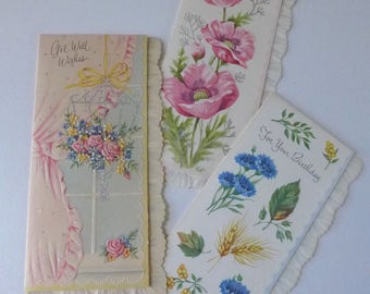 Vintage Greeting Cards Floral Ornate Unused Scalloped edges romantic graphics Made in USA Lot of 3 Birthday Get well
