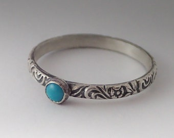 Turquoise Ring, Sterling Silver Floral Pattern Band with 3mm Turquoise, Turquoise Ring Silver, December Birthstone, Birthstone Ring