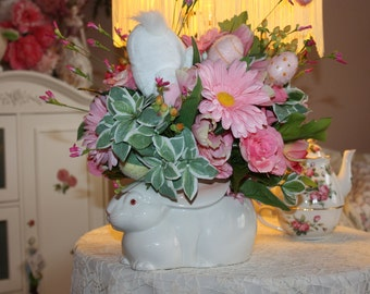 Easter Centerpiece Floral Arrangement Vintage Fitz & Floyd Bunny Vase Shabby Chic Cottage Easter Decorations FREE SHIPPING