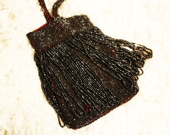 1920s Sparkly Beaded Crochet Fringe Flapper Purse / Great Gatsby Style
