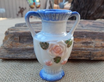 "Small Double Handled Blue Rose Vase  ~  Small Rose Vase  ~  Small Rose Vase Made in Japan  ~  3"" Blue Rose Vase"