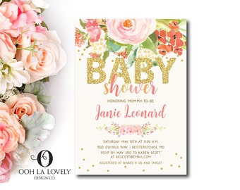 Baby Shower Invitation, Baby Girl Shower Invite, Printable, IT'S A GIRL, Baby Shower invite - DIY, pink, Floral, gold and pink shabby chic