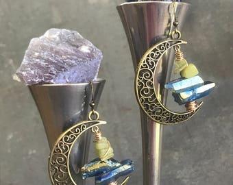 Raw Titanium Druzy & Peridot Asymmetric Bronze Moon Hoop Earrings by Adrienne Adelle - BohoChic Earrings - Bohemian Style - Healing Crystals