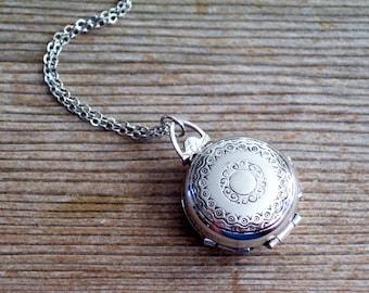 Silver Coro Locket Pendant Necklace, Vintage CORO Locket Pin Pendant, Art Deco Style Silver Locket, Multiple Photo Locket, Mourning Locket