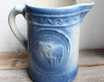 Stoneware Cow Pitcher, Blue and White Crock Vase, Country Chic, Farm House Decor