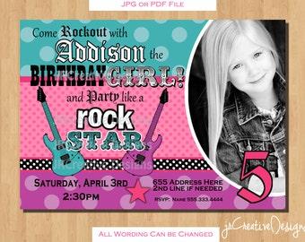 Rockstar Invitation Rockstar Birthday Rockstar Party Rock Star Birthday Invitations Girl Invitations Rock star invitations Rock star party