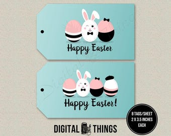 Printable Happy Easter Favor Tags Stickers Labels Gift Tags. Easter Bunny Tags. Easter Decor. Printable Party Decor Decoration DT1980