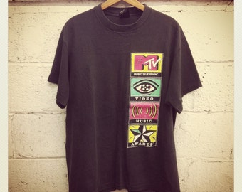 1991 MTV Tee Shirt Black Medium Unisex Music Television Artifact VMAs