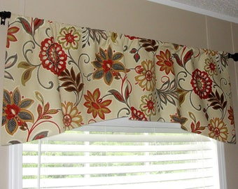 """Designer Spice Arch Shaped or Straight Floral Valance 52"""" wide x 19"""" long Fully Lined Orange Grey Gold Pea Green Brown Black"""