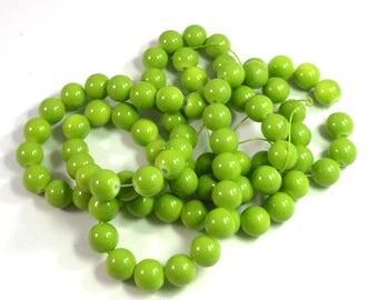 Bulk Strand 10mm Round Glass Apple Green Beads, 31 inch Strand, Shiny Green Beads, White Centers, Crafting Beads, Jewelry Making, Vibrant
