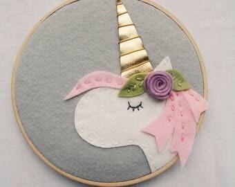 Unicorn Room Decor, Magical Horse, Mythical Animal, Purple Mane, Unicorn Mom, Party Decoration, Pastel Room Decor, Pink Wall Art, Gold Horn