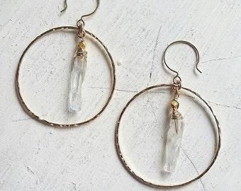 Rainbow Crystal Spike Hoops - beach jewelry, boho chic, crystal earrings, hawaii jewelry, kauai