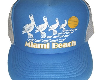 Miami Beach Pelicans Light Blue  Mesh Trucker Hat Cap Snapback Florida