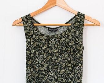Women's vintage floral dress / forest green / summer / tank dress / size small