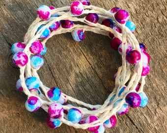 Unicorn Hair: Versatile crocheted necklace / bracelet / belt / headband