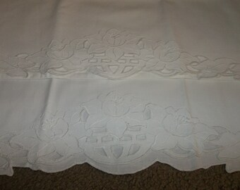2 Vintage Cotton Pillowcases.. Hand embroidery..Cutwork Perfect  Condition..NOS