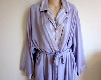 Peignoir nightgown & chiffon kimono robe set HALSTON plus size lingerie 1X