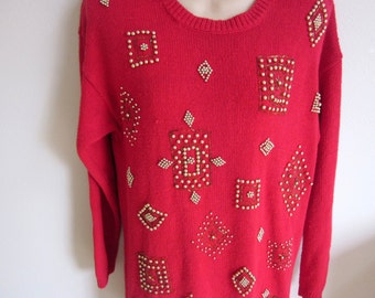 Ugly Christmas Sweater Red beaded tunic Holiday party winner S M