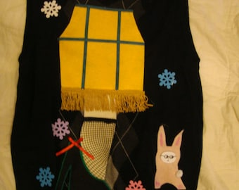 leg lamp ugly christmas sweater tacky party winner men's vest medium ralphie