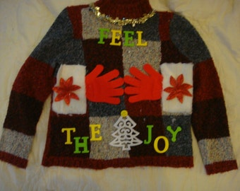 fast shippng deb woman's naughty ugly christmas sweater medium feel the joy red gloves medium fur fast shipping