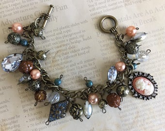 Vintage Inspired Antique Industrial Cameo Beads Flower Charm Bracelet