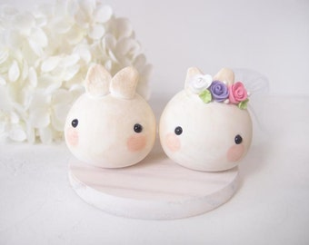 Love Wedding Cake Toppers -Cute bunny with base