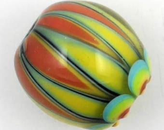 Handmade focal lampwork glass bead in coral,yellow, light green and light turquoise- Circus series
