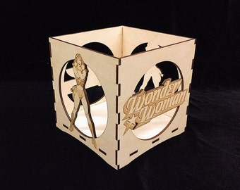 Wonder Woman Candle Holder-Unfinished Wooden Candle Lantern-engravable candle box-Superhero gift-Wonder Woman wooden candle lantern