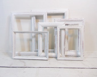 Distressed White Frames Set 6 Vintage Wood Resin Frames Set/Large Open Frames/Wall Gallery Frames/Frame Collection/Frame Lot/Nursery Frames
