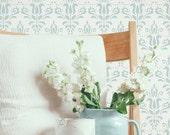 Scandi Damask Stencil from The Stencil Studio. Reusable home decor & DIY stencils, simple to use. 10428