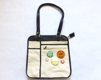 Vintage Canvas Purse with Buttons