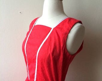 Vintage Red and White Swiss Dot Dress