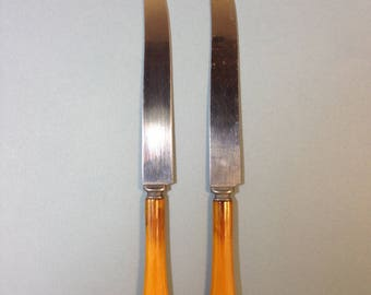 Pair Butterscotch Yellow Bakelite Knives, silverware