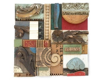 wood wall art, SPRING THAW, wood collage, architectural salvage, mixed media assemblage, original art by Elizabeth Rosen