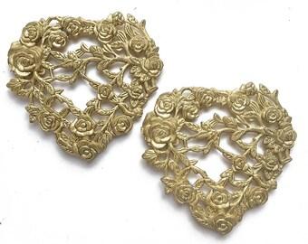 "2 vintage gold tone hearts, 3 1/2"" hearts, valentine supply, heart art, floral furniture decoration"